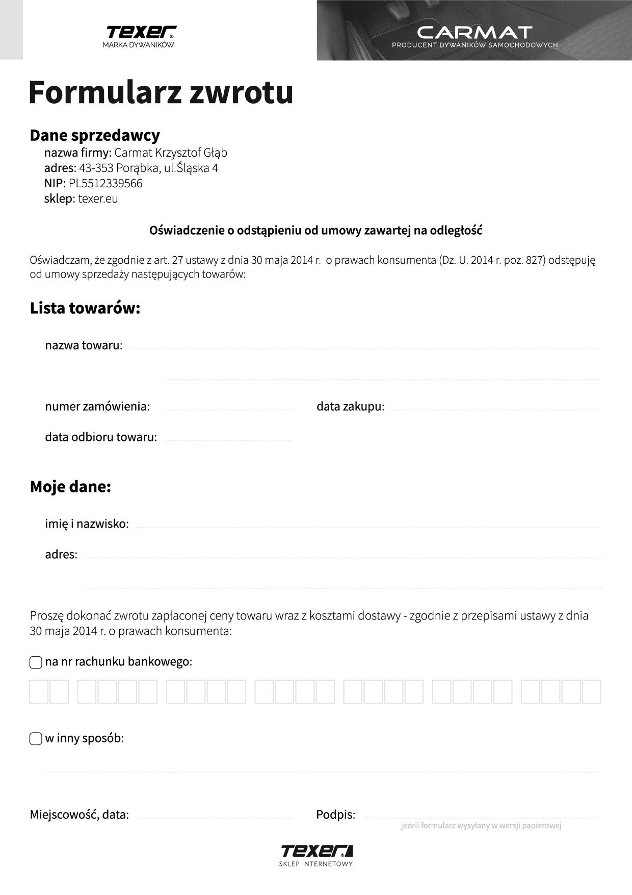 formularz zwrotu